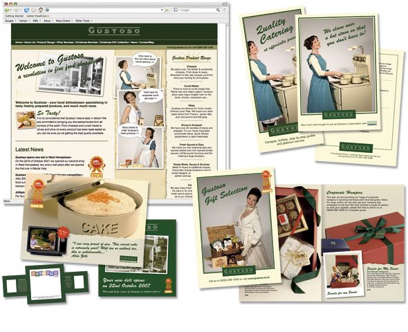 Retro web design and literature for a London based delicatessen